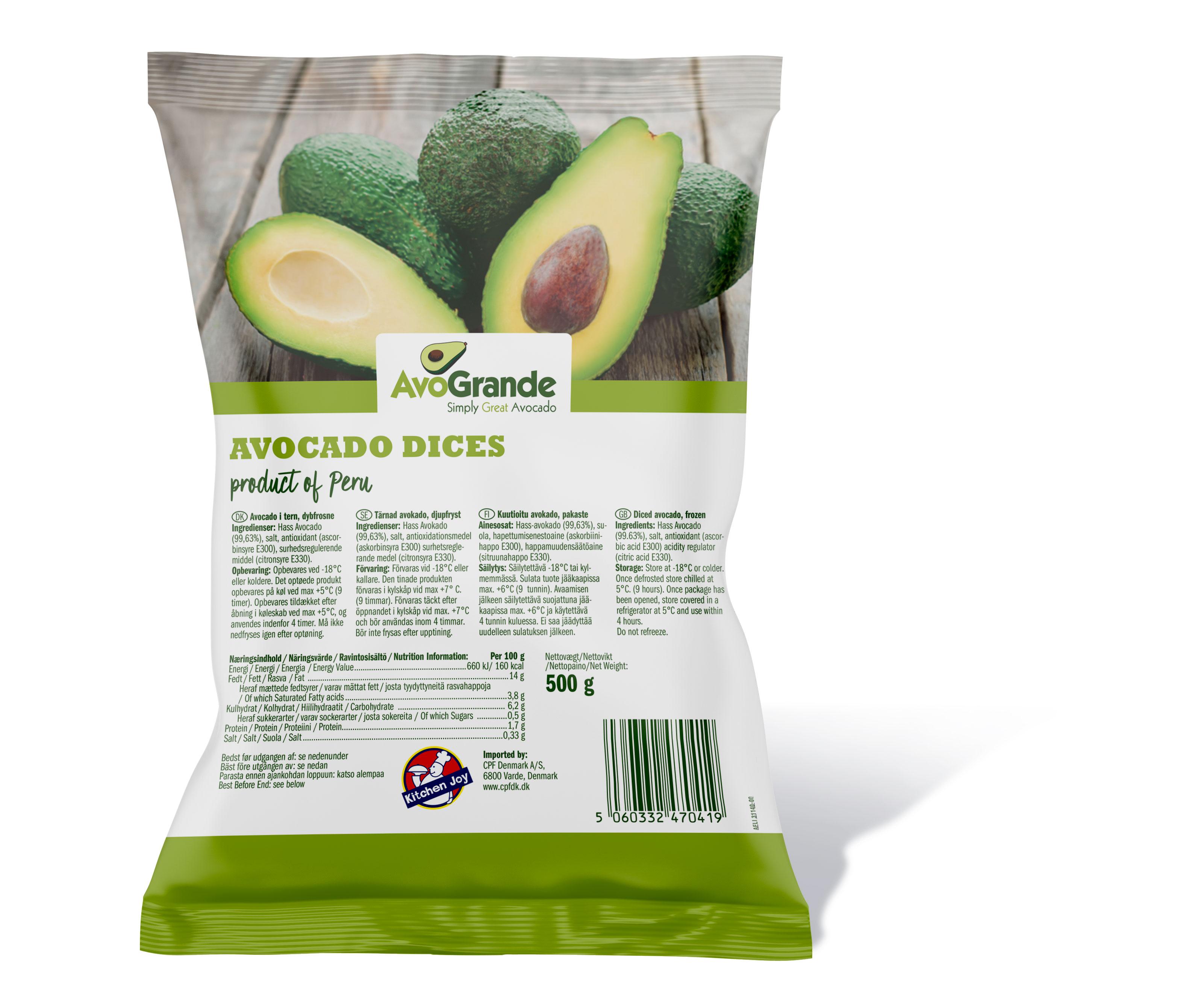 Avocado i tern og skiver